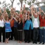 Group SaltSpring Island, hands in air